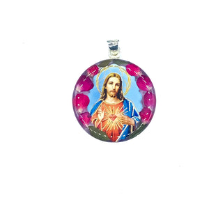"Round Silver Plated Jesus Necklace with Real Flowers, 16"" (L)"