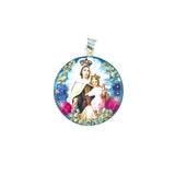"Silver Plated Our Lady of Mount Carmel Medal Necklace with Real Flowers, 16"" (L)"
