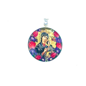 "Silver Plated Our Lady of Perpetual Help Medal Necklace with Real Flowers, 16"" (L)"