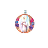 "Silver Plated Our Lady of Hope Medal Necklace with Real Flowers, 16"" (L)"