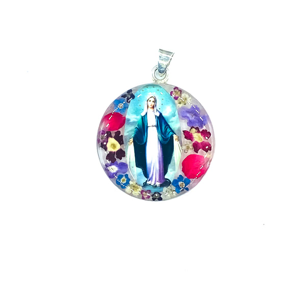 Our Lady of Grace Medal Necklace with Real Flowers, 16