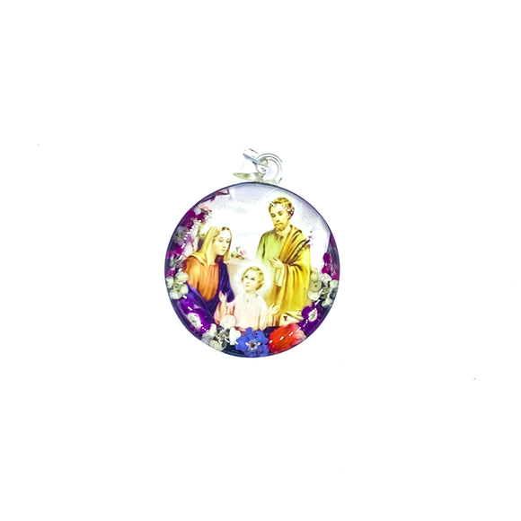 Round Silver Plated Holy Family Necklace with Real Flowers, 16