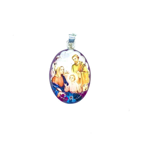 Oval Silver Plated Holy Family Necklace with Real Flowers, 16