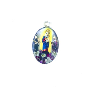 "Silver Plated Our Lady of Chiquinquira Medal Necklace with Real Flowers, 16""  (L)"