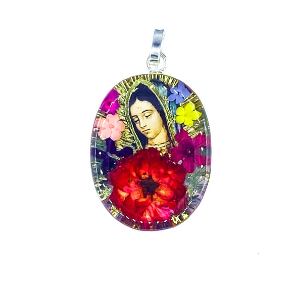 Oval Sterling Silver Our Lady of Guadalupe Necklace with Real Flowers, 16