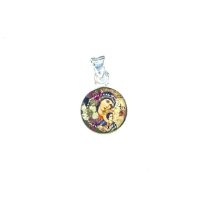 "Round Silver Plated Our Lady of Perpetual Help Medal Necklace with Real Flowers, 16"" (S)"