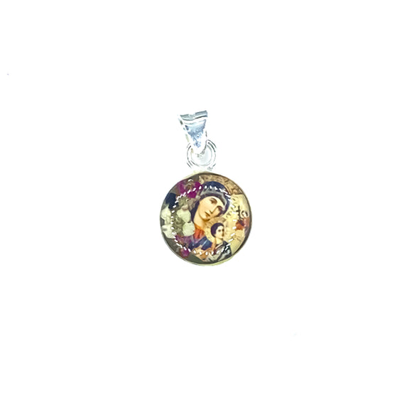 Round Silver Plated Our Lady of Perpetual Help Medal Necklace with Real Flowers, 16
