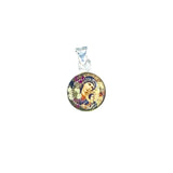 "Silver Plated Our Lady of Perpetual Help Medal Necklace with Real Flowers, 16"" (S)"