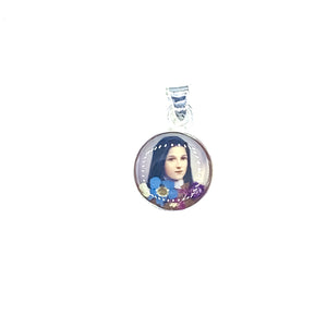 "Round Silver Plated St Therese Necklace with Natural Flowers, 16"" (S)"