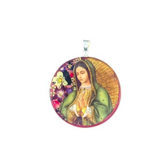 Round Silver Plated OL of Guadalupe Medallion with Natural Flowers, 2.4