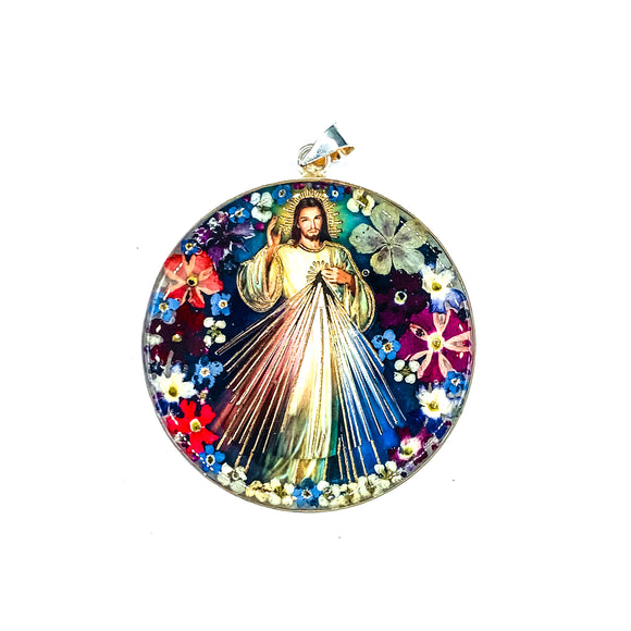 Round Silver Plated Divine Mercy Medallion with Natural Flowers, 2.4