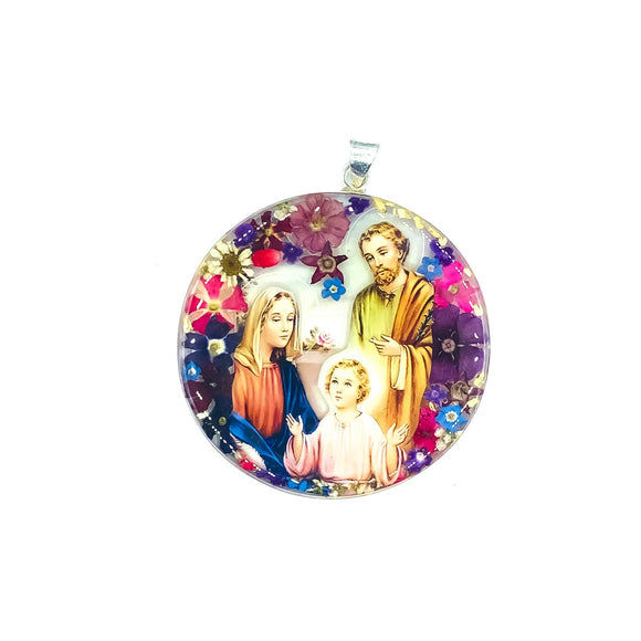 Round Silver Plated Holy Family Medallion with Natural Flowers, 2.4