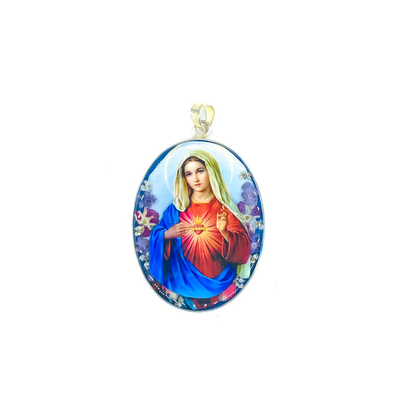 Oval Silver Plated Immaculate Heart Medallion with Natural Flowers, 1.8