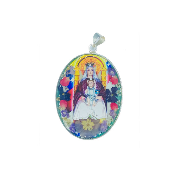Oval Silver Plated Virgin of Coromoto Medallion with Real Flowers, 1.86