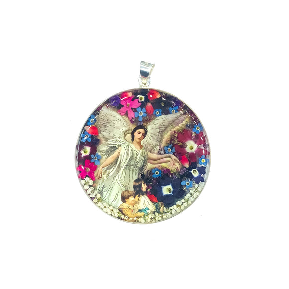 Round Silver Plated Gardian Angel Medallion with Natural Flowers, 12.4
