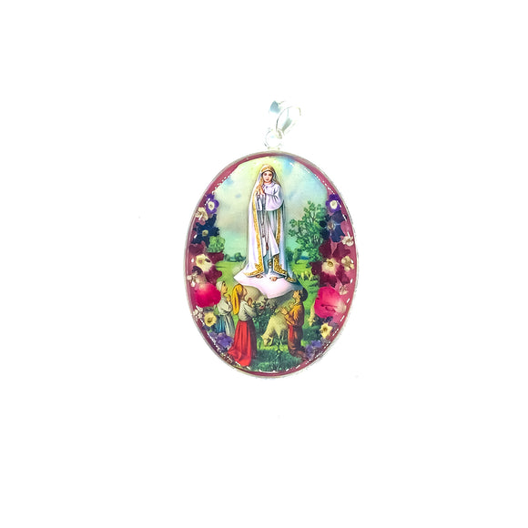 Oval Silver Plated Our Lady of Fatima Medallion with Natural Flowers, 1.8