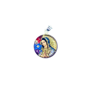 "Silver Plated Our Lady of Guadalupe Necklace with Real Flowers, 16"" (M)"