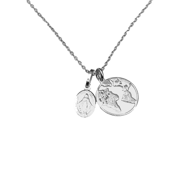 Sterling Silver Rhodium-Plated Globe & Grace Necklace, 16