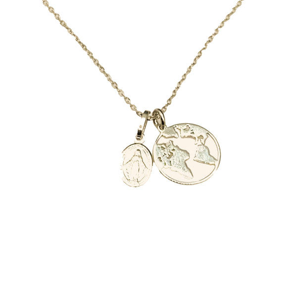 Sterling Silver Gold-Plated Globe & Grace Necklace, 16