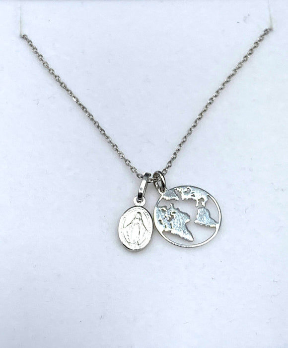 WORLD MAP & MIRACULOUS MEDAL NECKLACE