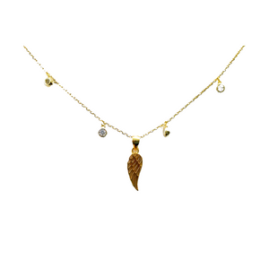 "Gold Plated Multi Round Bezel Cubic Zirconia Necklace with Wing Angel, 16""+2"""