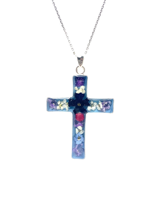 Silver Plated Pressed Flower Cross Pendant, 1.3
