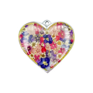"Heart-Shaped Pewter Wall Ornament w/ Natural Flowers, 3.8 "" X 3"" (L)"