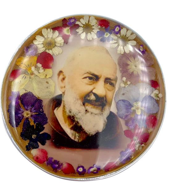 Padre Pio Rosary Box with Natural Flowers, 2.9