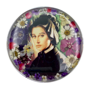 "Pewter Saint Elizabeth Ann Seton Rosary Box with Natural Flowers, 2.9""x1.5""x2"""
