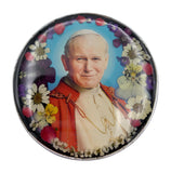 "Pewter St John Paul II Rosary Box with Natural Flowers, 2.9""x1.5""x2"""