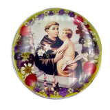 "St Anthony Rosary Box with Pressed Flowers, 2.9""x1.5""x2"""