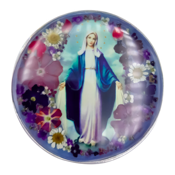 Our Lady of Grace Rosary Box with Natural Flowers, 2.9