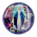 "Our Lady of Grace Rosary Box with Pressed Flowers, 2.9""x1.5""x2"""