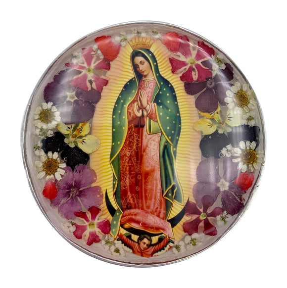 Our Lady of Guadalupe Rosary Box with Natural Flowers, 2.9