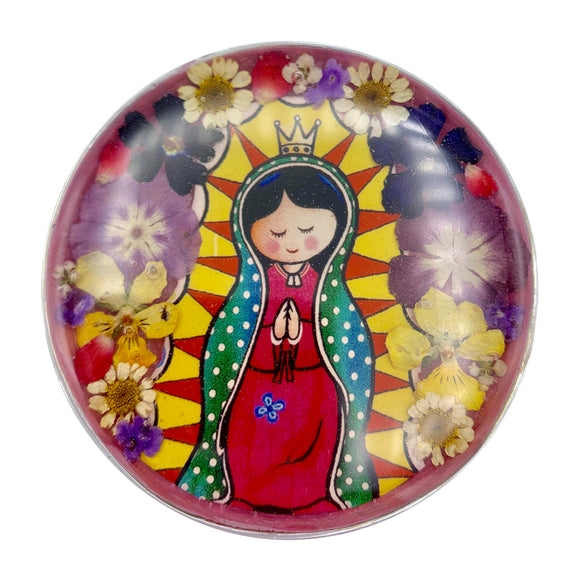 Baby Guadalupe Rosary Box with Natural Flowers, 2.9
