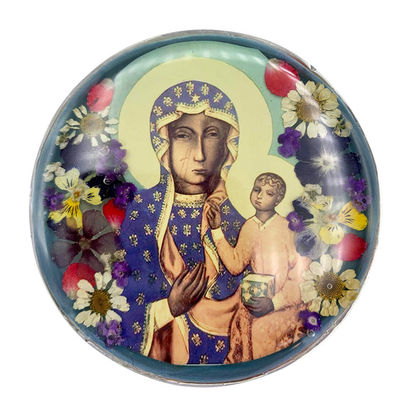 Our Lady of Czestochowa Rosary Box with Natural Flowers, 2.9