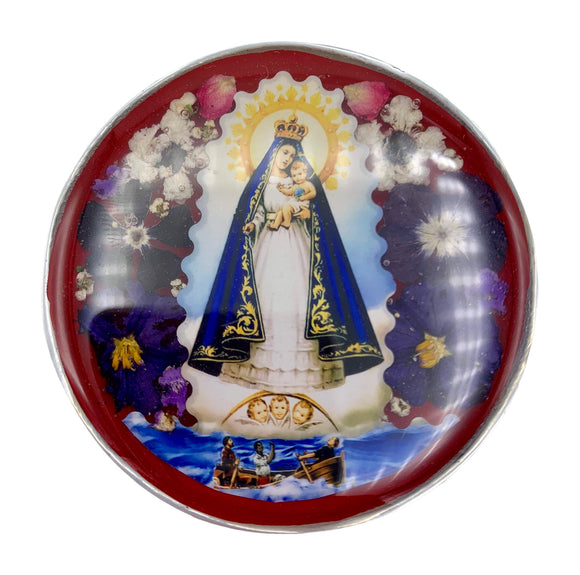 Our Lady of Charity Rosary Box with Natural Flowers, 2.9
