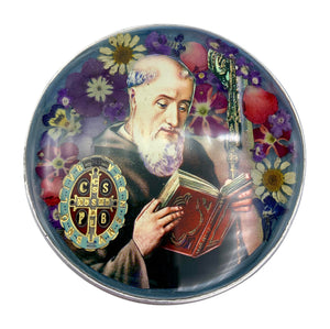 "St Benedict Rosary Box with Natural Flowers, 2.9"" x 1.5"" x 2"""