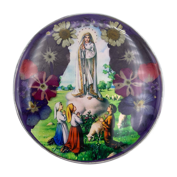 Pewter Our Lady of Fatima Rosary Box with Natural Flowers, 2.9