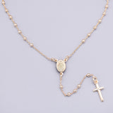 "Sterling Silver Gold-Plated ""Romina"" Rosary Necklace, 18"" + 2.5"""
