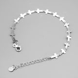 "Sterling Silver Unisex Cross Bracelet, 7""+ 1"""