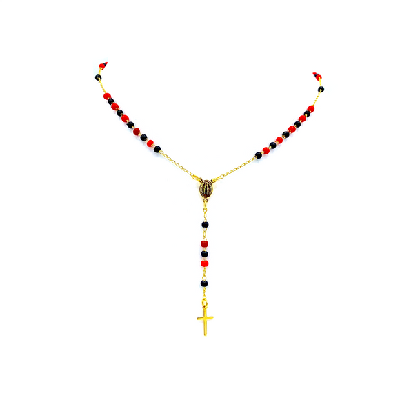 Vermeil Tiny Black & Red Beads Our Lady of Grace Necklace, 16
