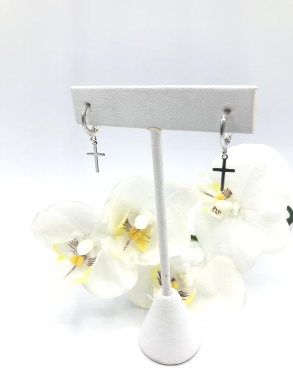 Silver Plated Cross Earrings