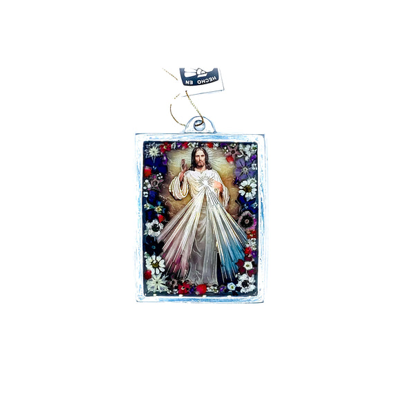 Divine Mercy Wall Ornament w/ Natural Flowers, 4.5