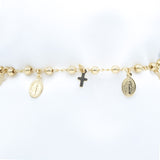Gold-Plated Bracelet with Our Lady of Grace and Cross Charms and Beads, 7""