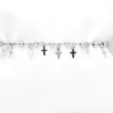Silver Plated Bracelet with Crosses Charms and Beads, 7""