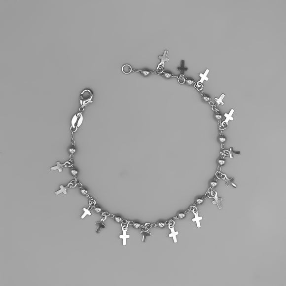 Silver Plated Bracelet with Crosses Charms and Beads, 7