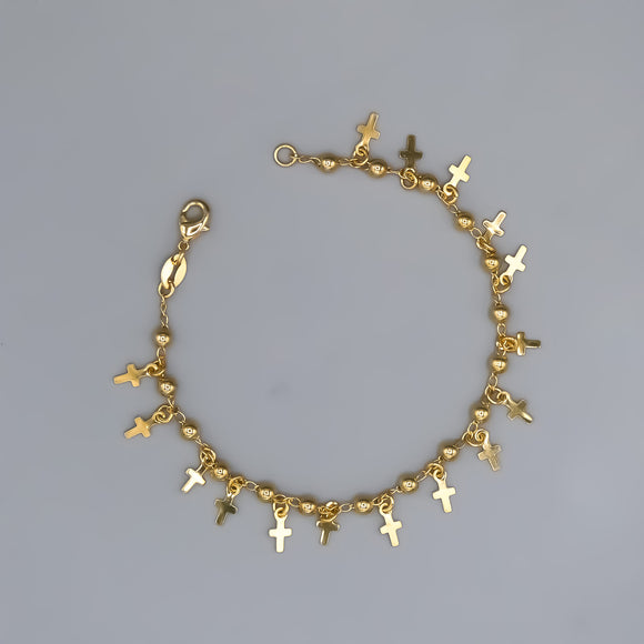 Gold Plated Bracelet with Cross Charms, 7