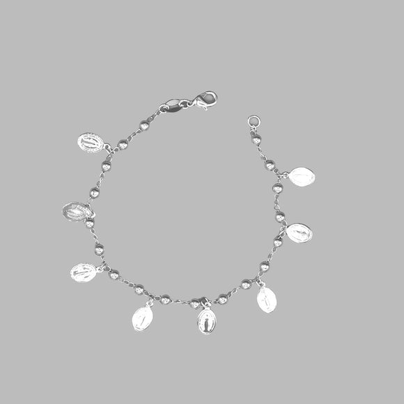 Silver Plated Bracelet with Our Lady of Grace Charms and Beads, 7