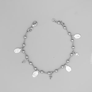 Silver Plated Bracelet with Our Lady of Grace and Cross Charms and Beads, 7""